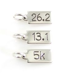 $15.00: Custom Race Distance Tag - Engraved Race Distance Tag Charm… This is a great addition to our Custom Bar Charm Necklace or any other necklace or charm bracelet. Our optional second side (+$5) will allow you to add a race date or finish time. Add a Charm Carrier to adapt this to your bead bracelet.