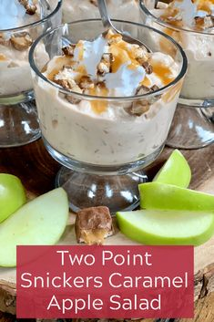 Two Point Snickers Caramel Apple Salad - Pound Dropper Snickers Caramel Apple Salad, Snicker Apple Salad, Caramel Apples, Snickers Bar, Snickers Dessert, Apple Caramel, Weight Watchers Meal Plans, Weight Watchers Desserts, Ww Recipes