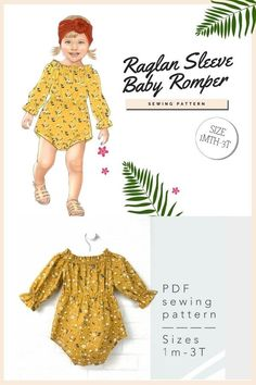Raglan Sleeve Baby Romper sewing pattern (1mth-3T). This pretty raglan-sleeve baby romper comes with an elastic round neckline, a gathered waist, and there are 3 sleeve styles. For ease of dressing your baby, the designer has made sure that all versions have either a comfortable elastic neckline and snap fasteners at the crotch. Optionally the bodysuit can be decorated with a lace trim.