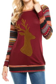 Faux Suede Reindeer Patch Mixed Print Sleeve Top