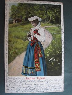 Woman from Värend Småland. Folk Costume, Costumes, Costume Ideas, Sweden Costume, Swedish American, Swedish Fashion, Historical Clothing, Vintage Postcards, Folklore