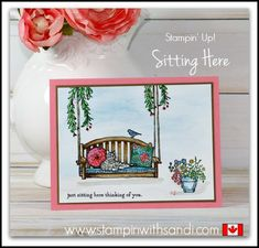 Stampin Up Sitting Here Stamp Set and a Pink card by Sandi @ www.stampinwithsandi.com