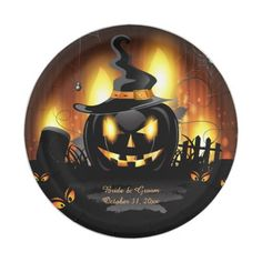 Black Pumpkin Wedding Paper Plates