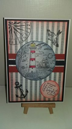 Nautical Cards, Crafty Projects, Masculine Cards, Vintage World Maps, Paper Crafts, Lighthouse, Stamps, Home Decor, Men