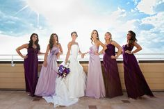 bridesmaids, color, dresses, purple, themes, black, eggplant, plum, winter. You choose colour, you choose style.......we do the rest at Jessica Bridal, Auckland, NZ