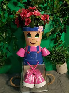 Country Kid Clay Pot People, Planter - All About Flower Pot Art, Clay Flower Pots, Flower Pot Crafts, Flower Pot People, Clay Pot People, Clay Pot Projects, Clay Pot Crafts, Painted Clay Pots, Painted Flower Pots