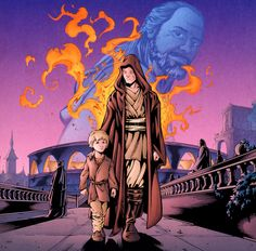 Qui-Gon watches approvingly as Kenobi takes Skywalker as his apprentice.