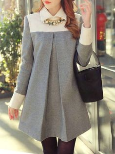 Grey and White Color Block Long Sleeve Wool Shift Dress Grau und Weiß Color Block Langarm Woll Etuikleid Pin: 380 x 530 Woolen Dresses, Women's Dresses, Maternity Dresses, Maternity Fashion, Casual Dresses, Shift Dresses, Elegant Dresses, Sparkly Dresses, Tight Dresses