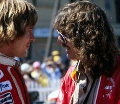 George Harrison talks to Formula One racer James Hunt at the United States Grand Prix (West) Long Beach,California, April 2, 1978 (1)
