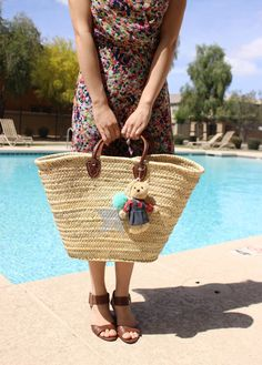 Silver Star Straw Tote, Pom Pom Bag, Straw Beach Bag, Large French Basket, French Market Tote, Picnic Basket, Eco Bag, Cute Summer Bag by fluteofthehour on Etsy