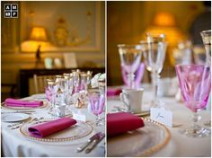 Pink touches at a wedding breakfast