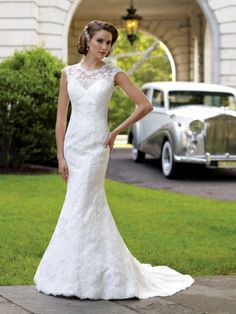 Trumpet/Mermaid Scoop Lace Satin Sweep Train White Buttons Wedding Dresses at Millybridal.com
