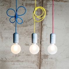 Lighting by Jakub Velinský Retro Lighting, Kids Lighting, Interior Lighting, Lighting Design, Suspended Lighting, Pendant Lighting, Light Pendant, Concrete Lamp, Cement