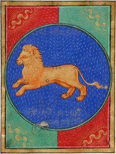 Leo ~ Book of Hours ~ ca.1473 ~ Italy, probably Milan 1470-1480 ~ Latin and Italian ~ Artist: attributed to Venturino Mercati (fl1473-1480) ~ one of 12 full-page calendar illustrations ~ The Morgan Library & Museum