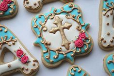 images of cross cookies | Elegant Blue and Gold Cross Cookies - One Dozen Decorated Sugar Cooki ...