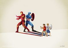 Iron Man and Captain America. Comic Book Heroes in Super Shadows II Illustrations. To see more art and information about Jason Ratliff click the image.