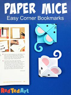 You can never have too many bookmark corners. Today we share some adorable paper mice bookmarks. Great for mice lovers or even the Year of the Rat Origami Bookmark Corner, Corner Bookmarks, Bookmarks Kids, Handmade Bookmarks, Bookmark Craft, Paper Bookmarks, Animal Crafts For Kids, Paper Crafts For Kids, Art For Kids