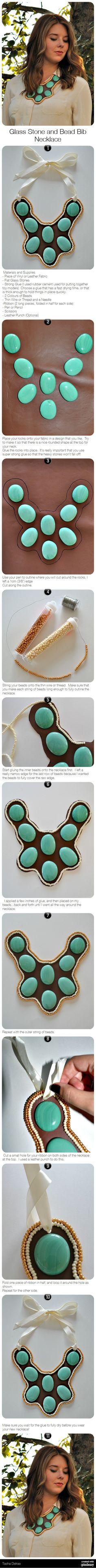 Glass Stone and Bead Bib Necklace via pindemy.com