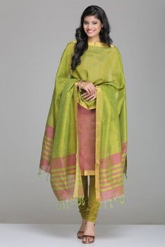 Self-Striped Onion Pink & Lime Green Mangalagiri Silk Cotton Unstitched Suit With Gold Zari Border