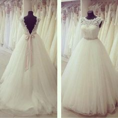 Ball Gown Top Lace Cap Sleeve Long Tulle Floor Length Lace Wedding Dress with Beading Sash
