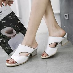 Candy Colors Open Toe Square Silver Heel Slides Chunky Sandals 9232 d4408663075d