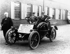 Thomas Edison, at left, poses with an early electric car that ran on his storage batteries. It took Edison thousands of experiments over many years to develop the batteries. That long string of failures led to a singular success: The batteries eventually became the most commercially successful product of the inventor's later life.