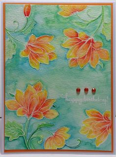 handmade card ... gorgeous colors  ... hot and cool contrasts ... white embossing with watercolor resist techniqu ... delightful!  ... Altenew