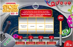 Story generator. You can choose four different genres and then your student inputs their name and grade level (up to 6th grade) and then they get to click the lever and it gives them a writing prompt http://www.scholastic.com/teachers/story-starters/science-fiction-writing-prompts/
