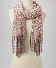 Another great find on #zulily! Dusty Pink Floral Fringe Scarf #zulilyfinds