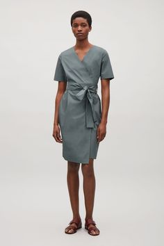 COS image 6 of Wrap-over cotton dress in Sage Green