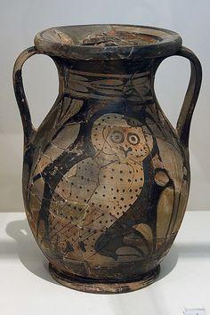 288. Atenes. Museu Arqueològic Nacional. Col·lecció de ceràmica.  Àmfora amb òliba. Pilar Torres