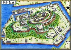 The old map of Uwajima Castle  It could have been the Venetia of Japan if it still existed.....  宇和島城