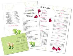 Custom designed wedding program and rehearsal dinner invitation ·