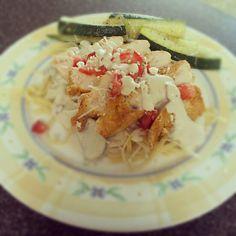 CopyCat Johnny Carinos Gorgonzola Chicken with Baked Zucchini sticks.