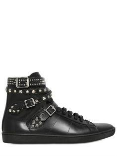STUDDED BELTED LEATHER HIGH TOP SNEAKERS