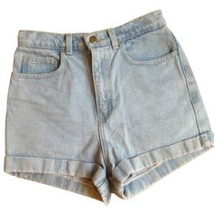 Blue Denim Jeans Shorts AMERICAN APPAREL ($32) ❤ liked on Polyvore featuring shorts, bottoms, pants, american apparel, high waisted shorts, high-waisted shorts, zipper shorts and high rise shorts