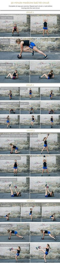 medicine ball hiit circuit workout | combine cardio, strength and stability in this medicine ball hiit circuit, a total body workout that you can do in 30 minutes or less. | http://www.nourishmovelove.commedicine ball hiit circuit workout | combine cardio, strength and stability in this medicine ba