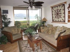 Island Style living room with ocean view! Convertible Bed, Sleeper Sofa, Maui, Hawaii, Swimming Pools, Vacation, Living Room, Bedroom, Furniture