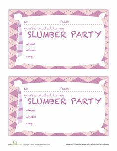 Free printable sleepover party invitations hundreds of slumber worksheets slumber party invitations filmwisefo