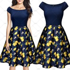 """This is a lovely ladies' Fruit Prints Vintage Look dress. Made of cotton, polyester and spandex. Available in U.S. sizes 4 - 14. Pleated A-Line dress, blue top portion, yellow and blue bottom portion. Zipper in back of skirt.    Please check measurements prior to ordering. Sizes are as follows:    Small = US 4 - 6, Bust 32.3"""" -34.2"""", Waist 27.6"""", Length 35.4""""    Medium = US 8, Bust 34.2""""-36.2"""", Waist 29.1"""", Length 36.2""""    Large = US 10, Bust 36.2"""" -38.2"""", Waist 31.1"""", Length 36.2""""…"""
