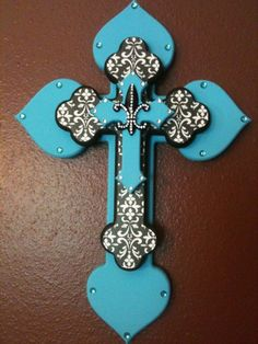 Turquoise and black layered cross stacked by BottlesNBling on Etsy, $40.00
