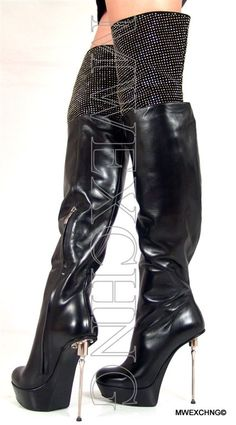 sexy GIANMARCO LORENZI overknee leather suede stiletto boots with upper rhinestone detail Thigh High Boots, Over The Knee Boots, Top Shoes, Me Too Shoes, Shoes Heels, Gladiator Boots, Sexy Boots, Sexy Heels, Black Boots