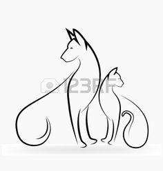 chat tatouage: Chat et de chien silhouettes image stylisée de logo de conception…