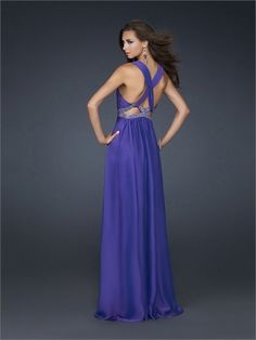 Deep V-neckline Criss-cross Back with Beadings Floor Length Chiffon Homecoming Dress HD1495  http://www.homecomingstore.com