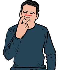 Blind - Index and middle fingers of primary hand extended ('V' shape'). Tips of 'V' move side to side in front of eyes. British Sign Language (BSL)