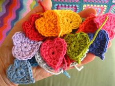 These little hearts make me happy in all these colors, would make great ornaments, scarf, or baby blanket.