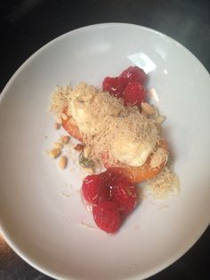 Peach Dolma with Knafe, rose petal jam, white chocolate labne, raspberries. Oleana dessert 2015