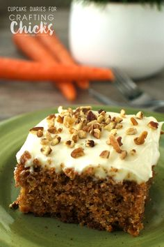This classic Homemade Carrot Cake is perfectly moist and spongey and topped with a decadent cream cheese frosting. A perfect dessert for spring!