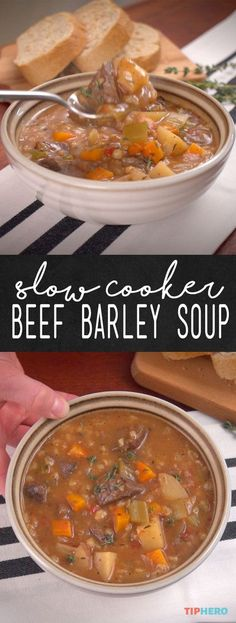 Crock Pot Beef Barley Soup Recipe   If you've never cooked with barley before, you're going to love it. The healthy grain is super-versatile, with a pasta-like consistency and rich flavor similar to nuts. Add to that beef, Yukon Gold potatoes, carrots, onion, celery and garlic and you've got a meal that's perfect for the whole family!Click to watch how it comes together and give it a try! #familydinner #stews #homecooking #healthyrecipes
