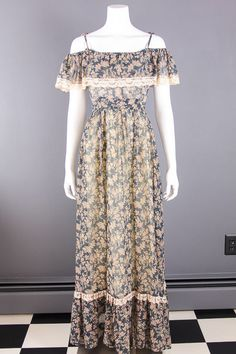 VTG 70s Boho *GUNNE SAX* Blue ROMANTIC FLORAL Festival PRAIRIE MAXI DRESS XS-S in Clothing, Shoes & Accessories, Clothing, Shoes & Accessories | eBay